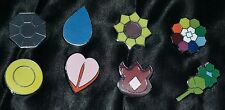Set of 8 Indigo League Pokemon Gym Leader Badges Pins Blue Red & Yellow Versions