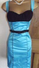 JANE NORMAN ❤️ BLUE BLACK SEXY CORSET PENCIL WIGGLE PARTY DRESS SIZE 8 10