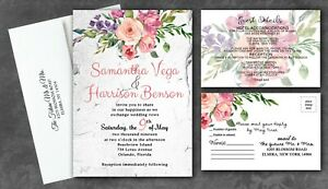 Personalized Wedding Invitations.Details About Personalized Wedding Invitations Garden Blush Country Set Of 50 Rsvp And Guest