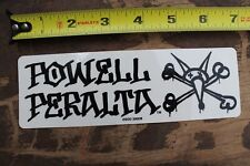 Powell Bones Vato Stacked Skateboard sticker 4in si Black on White square