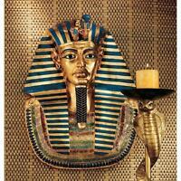 Pharaoh King Tut Egyptian Style Ancient Golden Mask Wall Sculpture