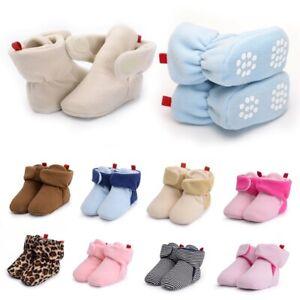 US 0-5Y Newborn Baby Boots Slipper Socks Kid Cartoon Winter Warm Anti-slip Shoes