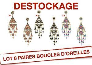 B166-LOT-8-PAIRES-BOUCLES-D-039-OREILLES-DESTOCKAGE-BIJOUX-FANTAISIE