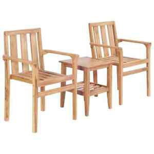 Vidaxl 3 Piece Solid Teak Bistro Set Outdoor Garden Furniture Table