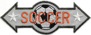 Beige Orange White Star Soccer Ball Arrow Embroidered Patch