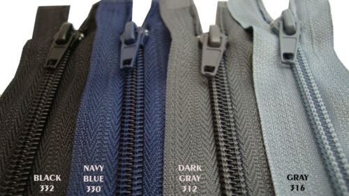 NYLON Zipper  Open End Single #5 Black Navy Blue Gray 50 55 60 65 70 80 85cm Zip