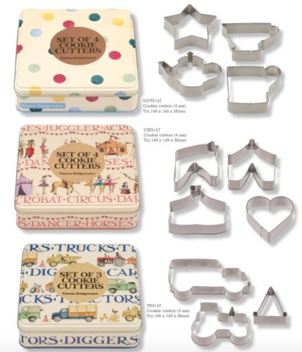 3 ou 4 Themed Cookies Cutters dans une jolie Tin Emma Bridgewater Cookie Cutters