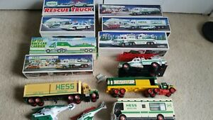 Lot of Brand New Hess Gasoline Station Toy Truck in Box Christmas Fire Police NR