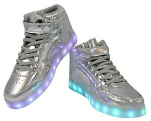Details About Led Light Up Kids Sneakers Usb Charging High Top Lace Strap Unisex Shoes Silver