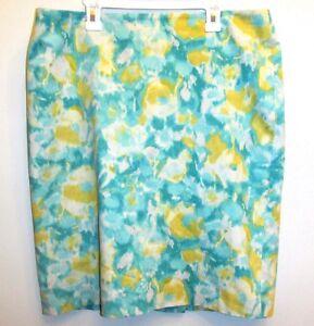 Cotone Gonna Talbots tubino 12p foderato Yellow Blue Print Petites elasticizzato Floral wCqC0xB5