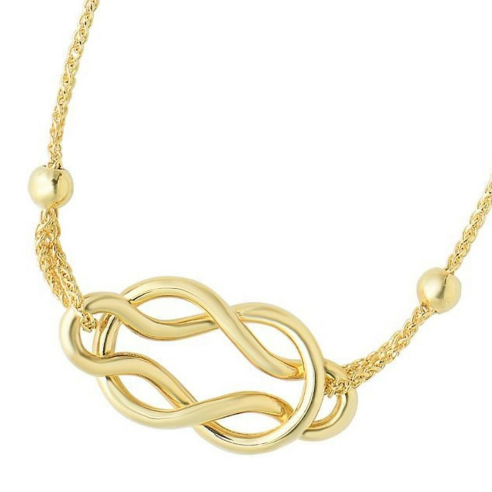 14kt 9.25  Yellow gold Diamond Cut Round Wheat Bracelet with Shiny Celtic Knot