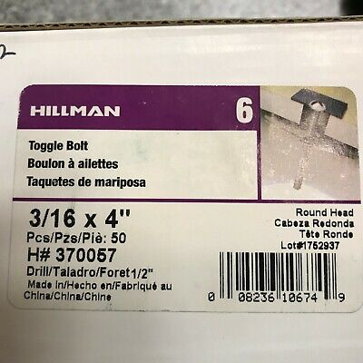 The Hillman Group 370057 Toggle Bolt 50-Pack 3//16X4-Inch