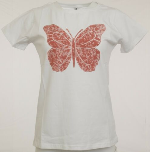 Damen Shirt bedruckt T-Shirt Top Schmetterling Druck Strech wollweiß 065707