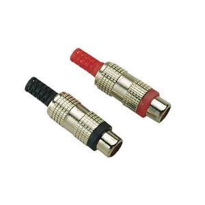 2 Fiches RCA Femelle Chassis  Répérage Rouge et Noir Connections à souder