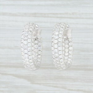 New-3ctw-Diamond-Inside-Out-Hoop-Earrings-18k-White-Gold-Snap-Lock-Odelia