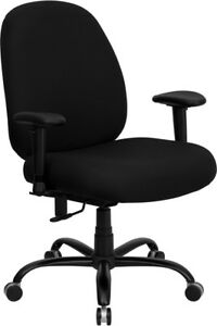 Miraculous Details About Big Tall 400 Lb Capacity Black Fabric Office Desk Chair With Extra Wide Seat Theyellowbook Wood Chair Design Ideas Theyellowbookinfo