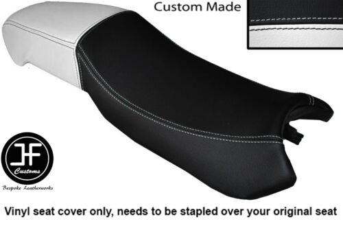 BLACK AND WHITE VINYL CUSTOM FITS DERBI MULHACEN 125 DUAL SEAT COVER ONLY