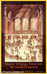 NEW YORK GRAND CENTRAL TERMINAL TRAIN TRAVEL AMERICAN VINTAGE POSTER REPRO
