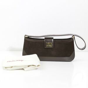 Image is loading ALLURING-FERRAGAMO-ITALY-BROWN-SUEDE-amp-LEATHER-TRIM- 36e4933d7f09b