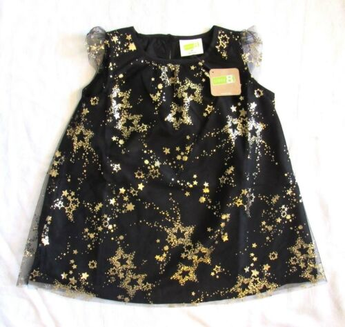Crazy 8 Black Tulle Party Dress w Gold Shooting Stars Photos New Years Sz 2T NEW