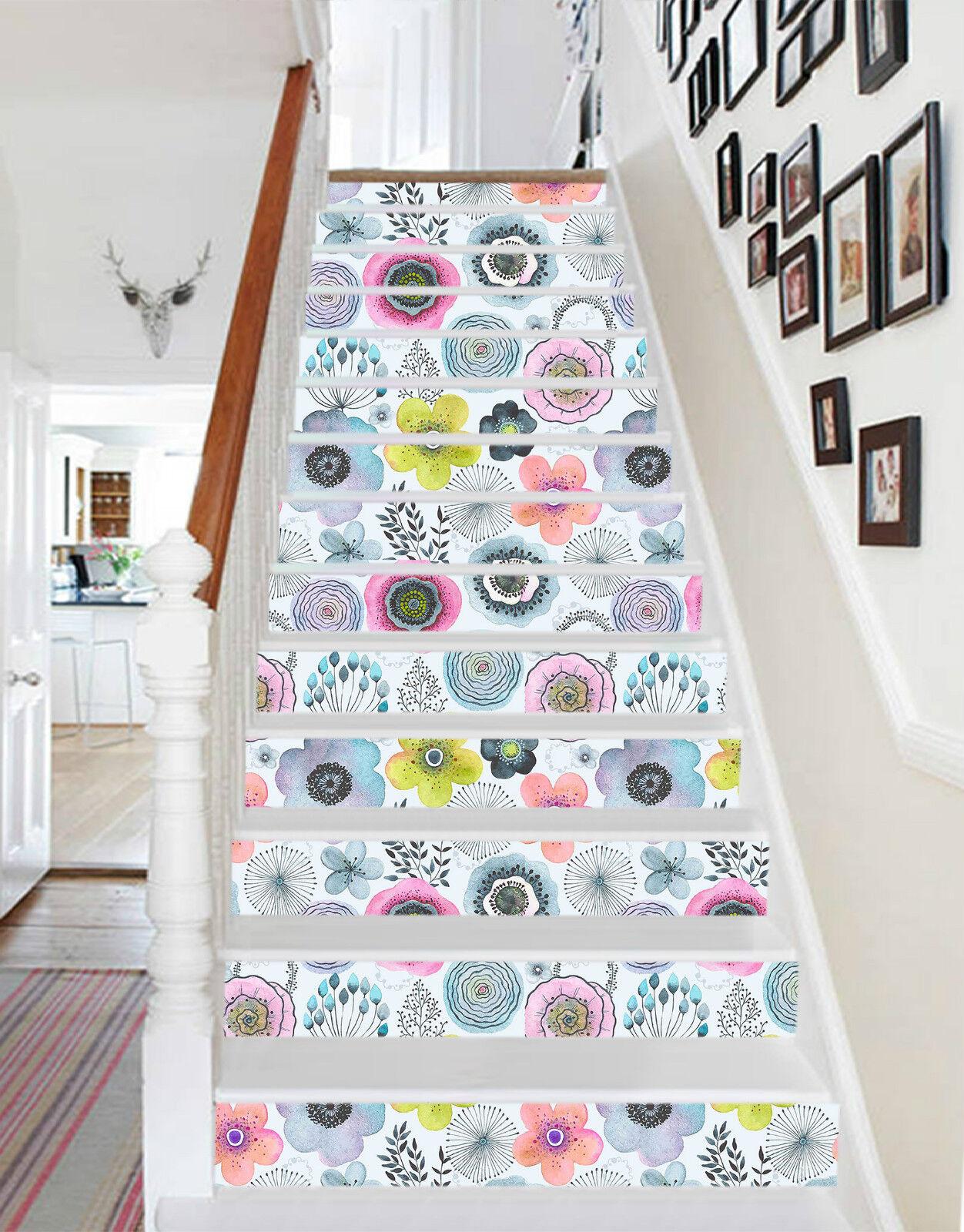 3D Aquarell Blaumen Stair Risers Dekoration Fototapete Vinyl Aufkleber Tapete DE