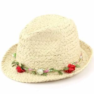 Hat-Straw-Trilby-Fedora-with-Flower-Garland-Band-Festival-Summer-Sun-Holiday