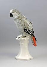 41433 Porzellan Großer Grau-Papagei auf Postament Ens Thüringen