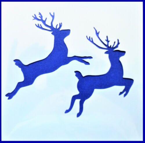 Flexible Stencil *FLYING REINDEER* Jumping Deer Santa Card Making 10cm x 10cm