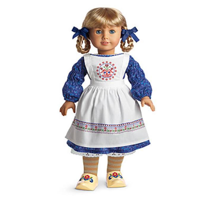 American Girl KIRSTEN'S Bäckerei Outfit Schwedische Apron Schuhe Kleid Haar Ties