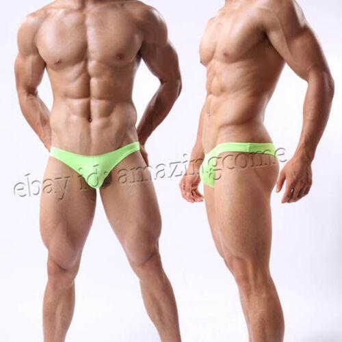 Men Mini Briefs Cheeky Underwear Comfy Enhance Bulge Pouch Bikini Thong Briefs
