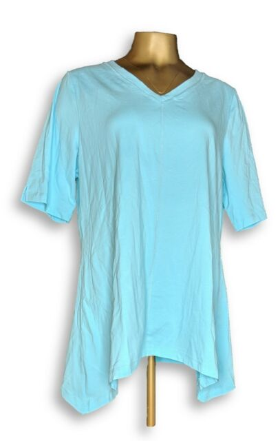 Denim & Co. Women's Top Sz L Perfect Jersey V-Neck Trapeze Hem Blue A254299