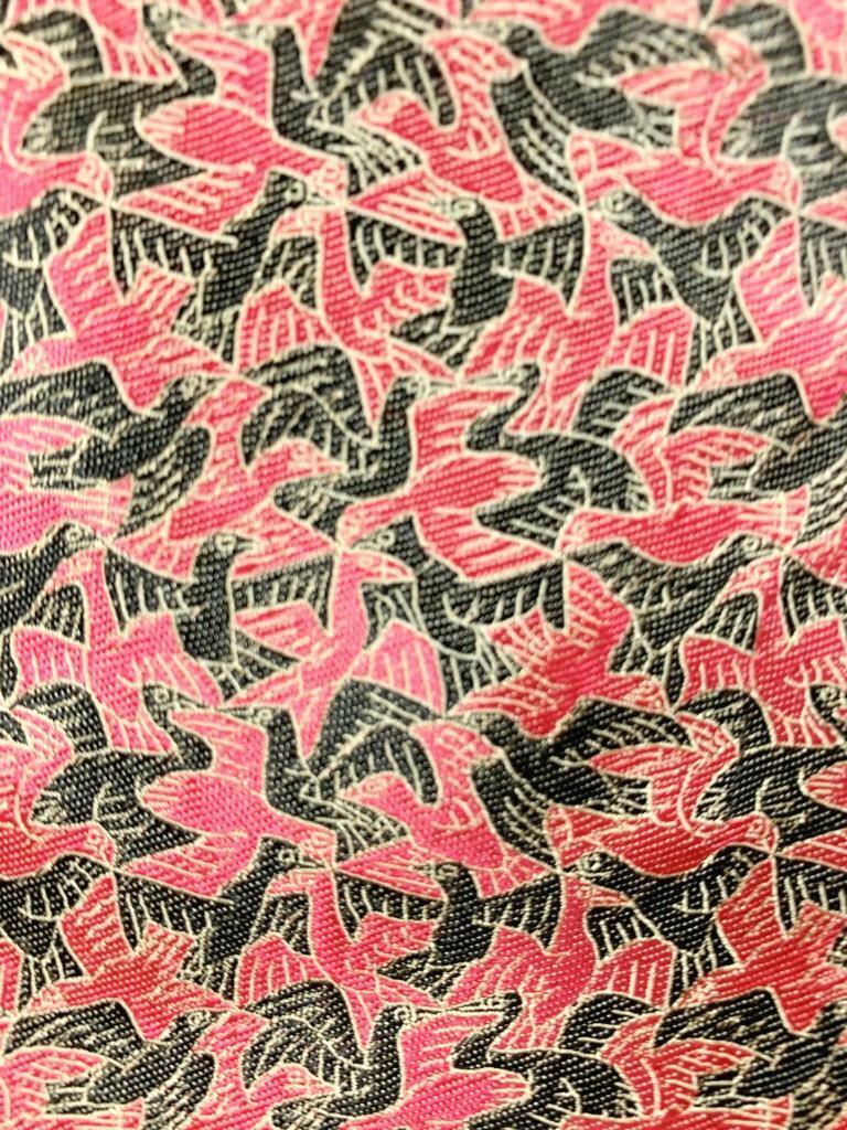 M.C. Escher Coral Black Gold Bird Art Deco Silk Necktie MAP2021A #R05