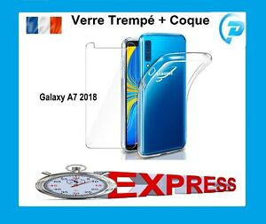 Pr Samsung Galaxy A7 2018 A750 Coque Housse + Film Verre Trempe Ecran Protection
