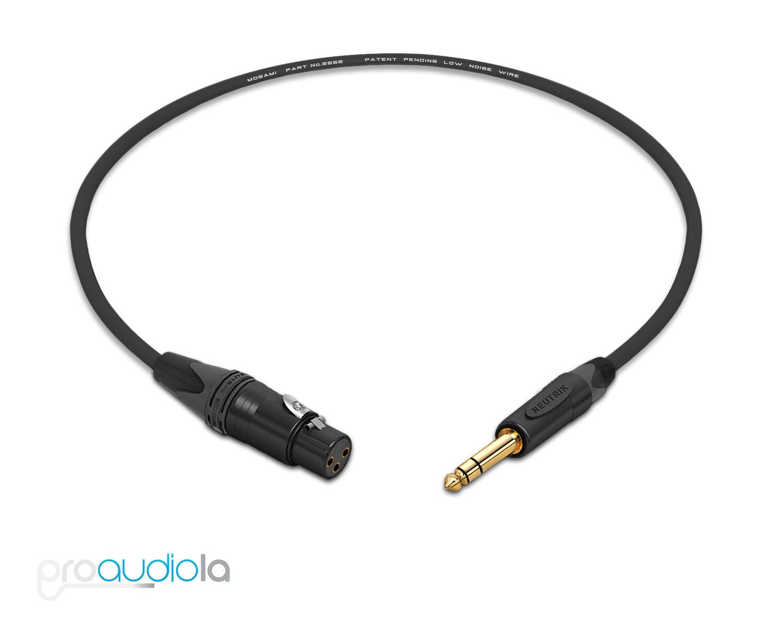 Mogami 2549 Headphone ExtensionNeutrik Gold TRS to TRS FemaleBlack 40 Feet