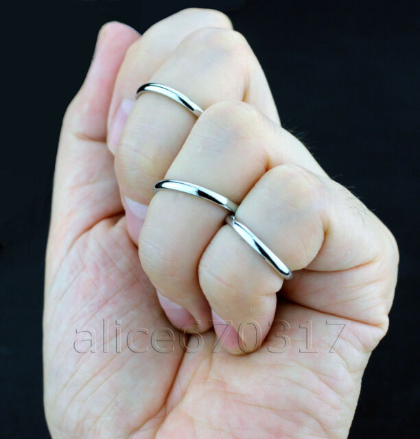 2pcs/set, knuckle ring,silver tip band Titanium stainless steel ring size:2-8