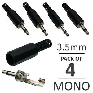 3-5-mm-Mono-Headphone-Solder-Jack-Plug-Audio-Connector-Black-Adapter