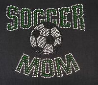 Rhinestone Soccer Mom Green Iron On Transfer, Tanktops, 7x8.5 Inches