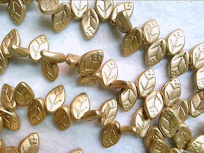 GLASS BEAD DROP 12X7mm 060116p VTG 50 GOLD LEAVES special purchase