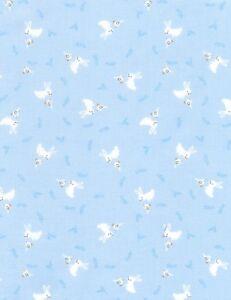 Nursery-Baby-Fabric-Small-White-Bunny-Rabbit-Blue-Timeless-Treasures-YARD