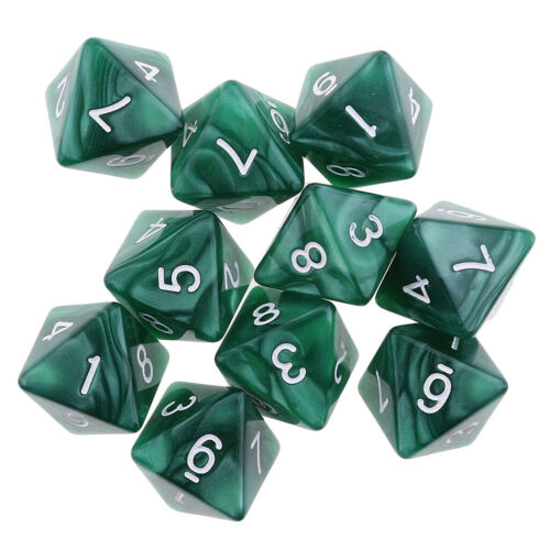 10PCS D8 Polyhedral Dice 8 Sided Dice for  Table Games