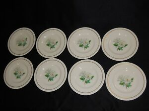 8-Hanover-China-Silver-Rose-8-034-Salad-Plates-White-Flower