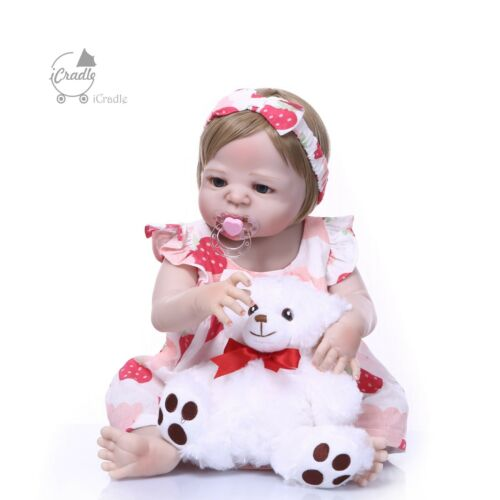 23''Reborn Baby Girl Full Body Silicone Anatomically Correct Dolls New Arrival