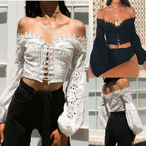 Fashion-Womens-Off-Shoulder-Long-Sleeve-Hollow-Lace-Lace-Up-Blouse-Tops-T-Shirt