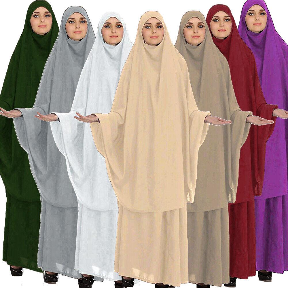 Muslim Women Prayer Abaya Two Piece Burqa Khimar Maxi Skirt Set Jilbab Kaftan