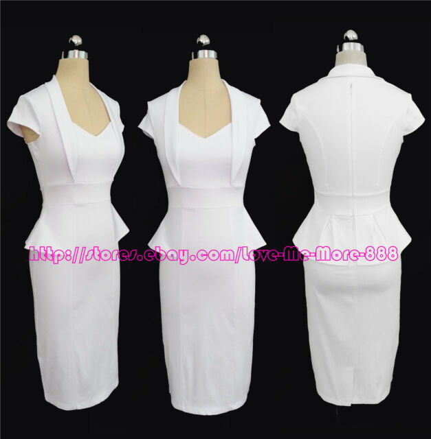XS - 2XL New Womens Ruffle frill V neck Wear to Work Casual Midi pencil A Dress