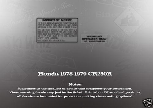 HONDA 1978-1979 CR250 CR250R TANK WARNING SET LIKE NOS