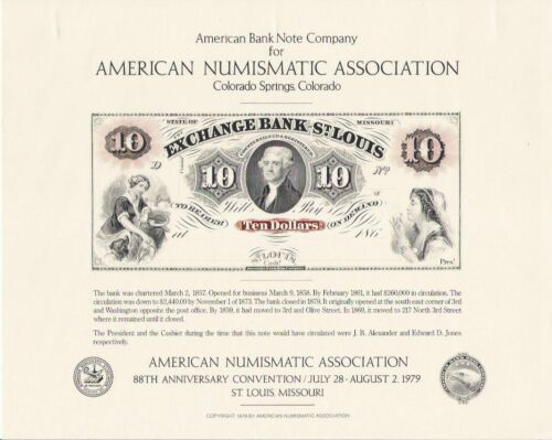 1989 ABNCo Souvenir Card - 186- $10.00 Exchange Bank of St. Louis - SO10