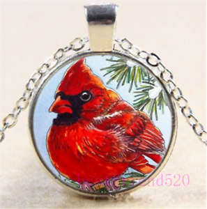 Northern Cardinal Cabochon Glass Silver//Black//Bronze Chain Pendant Necklace#DN20