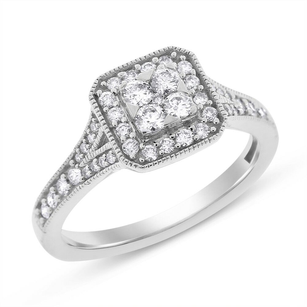 0.55 Ct. Natural Diamond Square Shape Illusion Promise Ring In Solid 10k White G