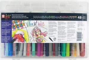 Sakura Koi Coloring Brush Pen - 48 Color Marker Gift Set w/ Artbin ...